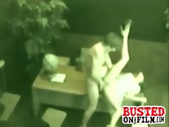 Secretary working late and the baggage carrier comes by and fucks her & is busted on security cam.