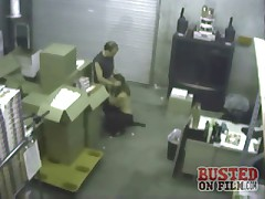 The warehouse manager gets in a fight with the office manager so she sucks his dick to get what she wants and is caught on security cam!