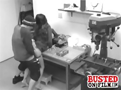 Father uses spycams to bust his employee fucking his 18 year old daughter at his machine shop