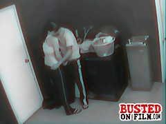 Apartment security cams catch a couple fucking and sucking in the basement laundry room after hours.