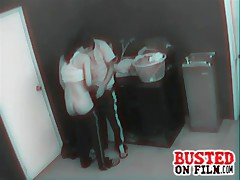 Cell laundry room security footage of a dude hooking up while doing his clothes