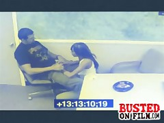 Chick blows her co-worker and jerks his cumshot on the pizza in the breakroom for others to eat is busted on spy cam.