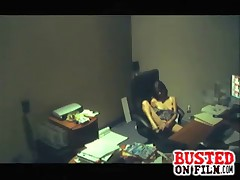 New office temp is watched on security cam while she fingers her wet pussy