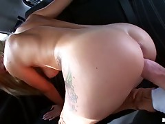 Bela said she'd take off some clothes and let me take a fashion picture, but I convinced her to suck me off for some cash.  This cute blonde has perfect tits and came on my cock in the backseat of her car.