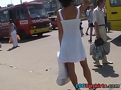 Thank god for my upskirt spycam! It helps me make sexy upskirt videos every time I go out or use public transport. This time I hunted a well-shaped brunette hottie in a red mini skirt. Her ass is so delicious!