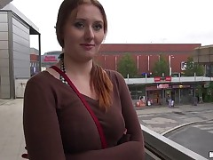 Dude spotted an all-natural busty redhead named Helen shilly-shallying for the bus, and knew he had to fuck her. He offered her a nice fat stack of bills and fun way to pass the time until her bus showed up: some nice public sex right there by the bus stop!