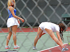 Tennis is on all sides short skirts together with panties together with chicks moaning like skanks. That's why I teach it. I was giving a lesson when I found these amateur girls. I had way better ideas how to really improve their strokes, their grips, together with their ball-handling.