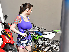 This cool tattooed chick I know with HUGE tits was working in these little cutoffs cleaning all these motorbikes. I had to get a record of that sweet ass and how she drops for dick and squeals on it. Holy fuck! what a hot fuck-at-work...but her boss totally CAUGHT US.